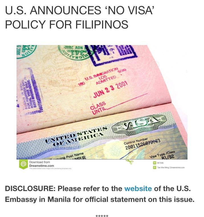 Philipinos No Longer Need USA Visa